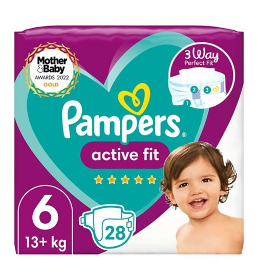 Pampers Active Fit Size 6, 28 Nappies, 13kg+, Essential Pack
