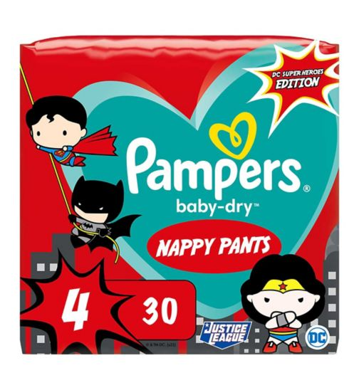 Pampers Baby-Dry Superhero Nappy Pants Size 4, 30 Nappies, 9kg-15kg