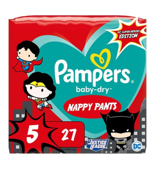 Pampers Baby-Dry Superhero Nappy Pants Size 5, 27 Nappies, 12kg-17kg