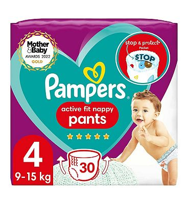 Active Fit Nappy Pants Size 4, 30 Nappies, 9-15kg, Essential Pack