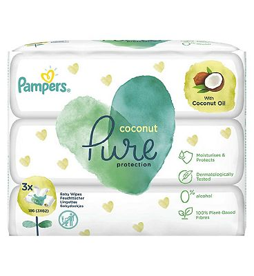 Coconut Pure Baby Wipes 3 Packs = 186 Wipes