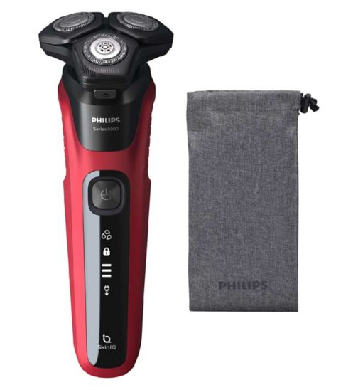 Philips Series 5000 Wet & Dry Electric Shaver with Soft Pouch, Fire Red Grey - S5583/10