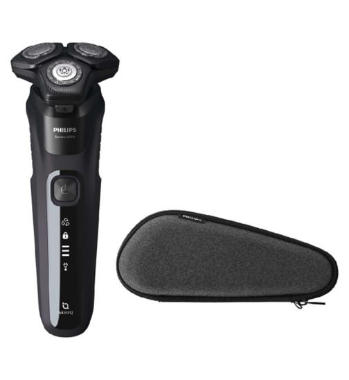 Philips Series 5000 Wet & Dry Electric Shaver with Pouch, Deep Black - S5588/30
