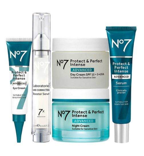 No7 LABORATORIES LINE CORRECTING Booster Serum 15ml;No7 Laboratories LINE CORRECTING Booster Serum 15ml;No7 Protect & Perfect Intense ADVANCED Complete Regime;No7 Protect & Perfect Intense ADVANCED Day Cream 50ml;No7 Protect & Perfect Intense ADVANCED Day Cream 50ml;No7 Protect & Perfect Intense ADVANCED Eye Cream 15ml;No7 Protect & Perfect Intense ADVANCED Eye Cream 15ml;No7 Protect & Perfect Intense ADVANCED Night Cream 50ml;No7 Protect & Perfect Intense ADVANCED Night Cream 50ml;No7 Protect & Perfect Intense ADVANCED Serum 30ml;No7 Protect & Perfect Intense ADVANCED Serum 30ml