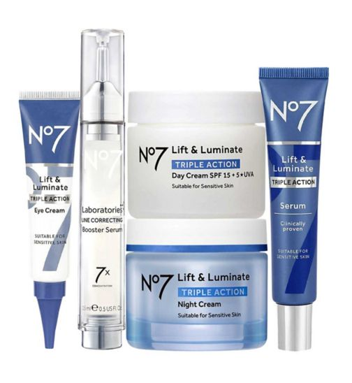 No7 LABORATORIES LINE CORRECTING Booster Serum 15ml;No7 Laboratories LINE CORRECTING Booster Serum 15ml;No7 Lift & Luminate TRIPLE ACTION Day Cream SPF 15 50ml;No7 Lift & Luminate TRIPLE ACTION Day Cream SPF 15 50ml;No7 Lift & Luminate TRIPLE ACTION Eye Cream 15ml;No7 Lift & Luminate TRIPLE ACTION Night Cream 50ml;No7 Lift & Luminate TRIPLE ACTION Night Cream 50ml;No7 Lift & Luminate TRIPLE ACTION Serum 30ml;No7 Lift & Luminate TRIPLE ACTION Serum 30ml;No7 Lift & Luminate Triple Action Eye Cream 15ml;No7 Lift and Luminate TRIPLE ACTION Complete Regime