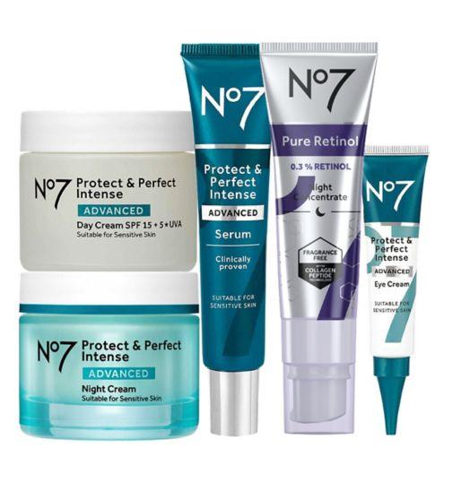 No7 Advanced Retinol 1.5% Complex Night Concentrate;No7 Advanced Retinol 1.5% Complex Night Concentrate;No7 Protect & Perfect Intense ADVANCED Complete Retinol Regime;No7 Protect & Perfect Intense ADVANCED Day Cream 50ml;No7 Protect & Perfect Intense ADVANCED Day Cream 50ml;No7 Protect & Perfect Intense ADVANCED Eye Cream 15ml;No7 Protect & Perfect Intense ADVANCED Eye Cream 15ml;No7 Protect & Perfect Intense ADVANCED Night Cream 50ml;No7 Protect & Perfect Intense ADVANCED Night Cream 50ml;No7 Protect & Perfect Intense ADVANCED Serum 30ml;No7 Protect & Perfect Intense ADVANCED Serum 30ml