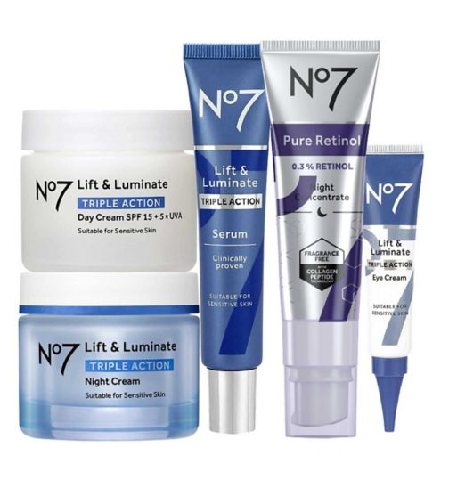 No7 Advanced Retinol 1.5% Complex Night Concentrate;No7 Advanced Retinol 1.5% Complex Night Concentrate;No7 Lift & Luminate TRIPLE ACTION Complete Retinol Regime;No7 Lift & Luminate TRIPLE ACTION Day Cream SPF 15 50ml;No7 Lift & Luminate TRIPLE ACTION Day Cream SPF 15 50ml;No7 Lift & Luminate TRIPLE ACTION Eye Cream 15ml;No7 Lift & Luminate TRIPLE ACTION Night Cream 50ml;No7 Lift & Luminate TRIPLE ACTION Night Cream 50ml;No7 Lift & Luminate TRIPLE ACTION Serum 30ml;No7 Lift & Luminate TRIPLE ACTION Serum 30ml;No7 Lift & Luminate Triple Action Eye Cream 15ml