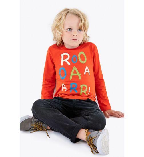 Boys Red Roar Long Sleeve Top