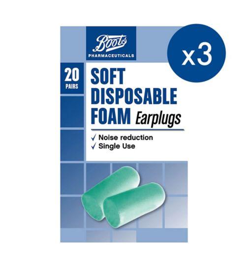 Boots Soft Disposable Ear Plugs;Boots Soft Disposable Ear Plugs 20 pairs;Boots Soft Disposable Ear Plugs x 3 Bundle