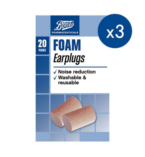 Boots Foam Ear Plugs - 20s;Boots Foam Ear Plugs - 20s x 3 Bundle;Boots Foam Ear Plugs 20 pairs