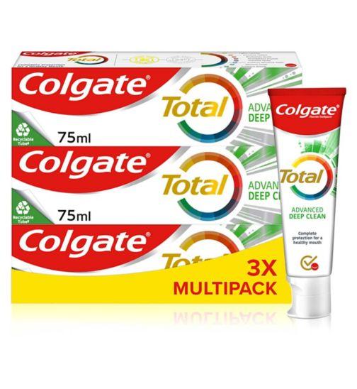 Colgate Total Advanced Deep Clean Toothpaste 75ml Bundle x3