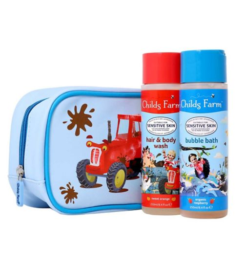 Childs Farm Tractor wash bag gift set