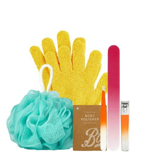 Boots Accessories Bundle;Boots Body Polisher;Boots Exfoliating Gloves x1;Boots Exfoliating Gloves x1;Boots Nail File x1;Boots Slanted Tweezers x1;Boots Slanted Tweezers x1;Boots Toenail Clippers x1;Boots Toenail Clippers x1;Boots body polisher;Boots nail file