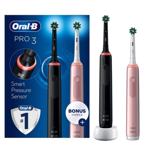 Oral-B Pro 3 - 3900 - Black & Pink Electric Toothbrushes Designed By Braun