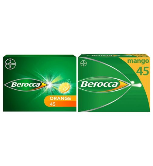 Berocca Energy Orange & Mango 90 Day Bundle;Berocca Mango Energy Vitamin 45 Tablets;Berocca Orange Energy Vitamin 45 Tablets;Berocca Orange Energy Vitamin 45 Tablets;Berocca effervescent tablets mango 45s
