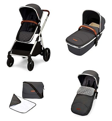 Ickle Bubba Eclipse 2 in 1 carrycot & pushchair chrome/graphite grey/tan