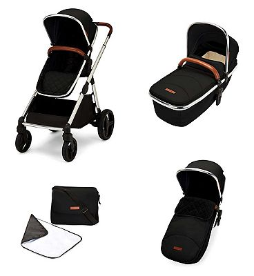 Ickle Bubba Eclipse 2 in 1 carrycot & pushchair chrome/jet black/tan