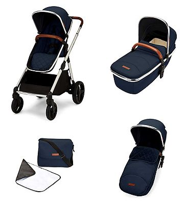 Ickle Bubba Eclipse 2 in 1 carrycot & pushchair chrome/midnight blue/tan