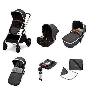 Ickle Bubba Eclipse travel system with galaxy car seat and isofix base chrome/graphite grey/tan