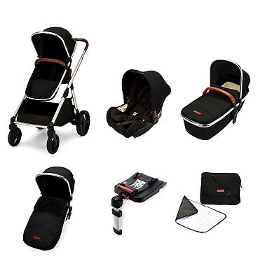 Ickle Bubba Eclipse travel system with galaxy car seat and isofix base chrome/jet black/tan