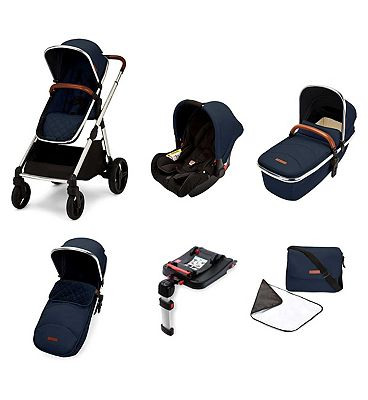 Ickle Bubba Eclipse travel system with galaxy car seat and isofix base chrome/midnight blue/tan