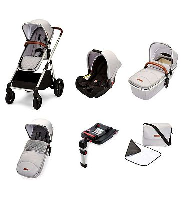 Ickle Bubba Eclipse travel system with galaxy car seat and isofix base chrome/silver grey/tan