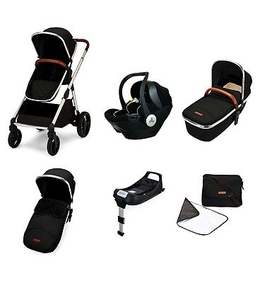 Ickle Bubba Eclipse i-size travel system with mercury car seat and isofix base jet black
