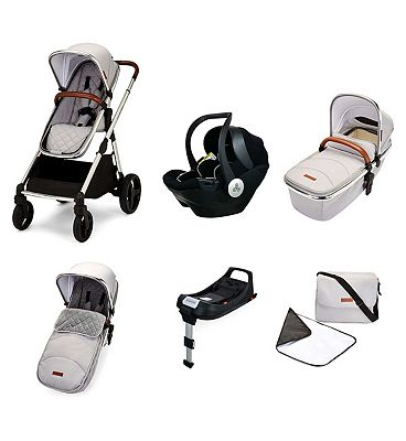Ickle Bubba Eclipse i-size travel system with mercury car seat and isofix base silver grey