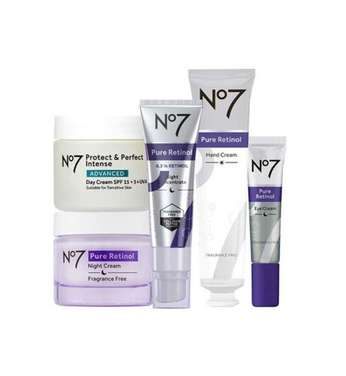 No7 Advanced Retinol 1.5% Complex Night Concentrate;No7 Advanced Retinol 1.5% Complex Night Concentrate;No7 Protect & Perfect Intense ADVANCED Day Cream 50ml;No7 Protect & Perfect Intense ADVANCED Day Cream 50ml;No7 Pure Retinol Eye Cream 15ml;No7 Pure Retinol Eye Cream 15ml;No7 Pure Retinol Hand Cream 75ml;No7 Pure Retinol Hand Cream 75ml;No7 Pure Retinol Night Repair Cream 50ml;No7 Pure Retinol Night Repair Cream 50ml;No7 Retinol Total Kit Bundle